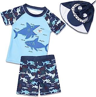 SGMWVB 幼儿男童三件套泳装套装婴儿短裤和*衣带帽子 UPF 50+