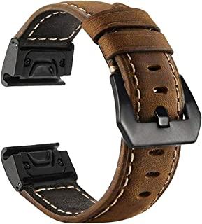 Fenix 6S Pro/5S Plus 表带, 20 毫米优质真皮表带快速释放易贴合表带, 兼容 Garmin 佳明 Fenix 6S/6S Pro/5S/5S Plus/D2 Delta 智能手表