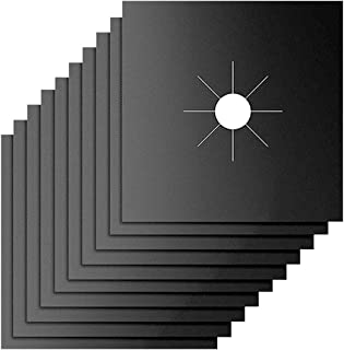 炉灶燃烧器盖,10 件装,燃气灶燃烧器衬垫,不粘可重复使用煤气灶炉保护盖,适用于厨房、烹饪、切割、易于清洁的焦点(黑色)