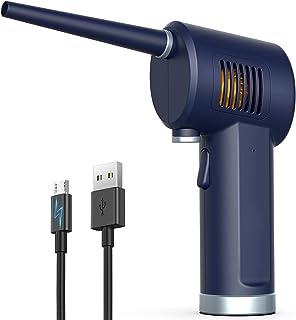 压缩空气除尘器,电动罐头空气,33000 RPM 电动空气罐,用于电脑键盘电子清洁,6000 mAh 可充电电池,可重复使用的灰尘碎屑破坏器,*蓝