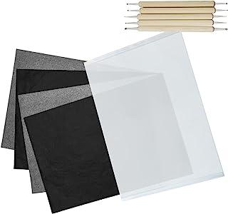 描摹碳纸,50 张黑色碳纸石墨纸,碳转移描图纸,带 5 个压花手写笔,用于复制、绘画木、帆布、纸张(8.5 x 11.5 英寸)