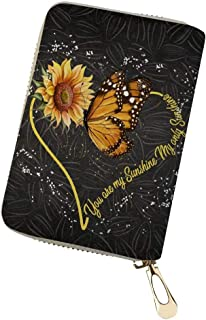 GOSTONG You Are My Sunshine 向日葵迷你信用卡包保护套 身份证旅行钱包 PU 皮 适合女士女孩 向日葵爱蝴蝶 均码