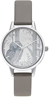 Olivia Burton 女士不锈钢石英手表人造皮革表带,灰色,1.5(型号:OB16SG10)
