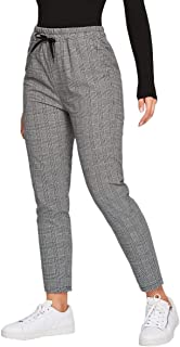MakeMeChic 女式休闲格子印花抽绳腰部胡萝卜裤带口袋