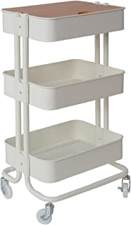 B.B家具 厨房推车 白色 宽45×深36.5×高78厘米 ROSSINI 网篮 3层型 ROW-F3SWH