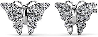 Cate & Chloe Everlee 螺旋式白金蝴蝶耳环,18k 镀金耳钉带施华洛世奇水晶,蝴蝶耳钉套装带密镶石施华洛世奇水晶,低致敏的 MSRP - 124 美元