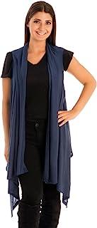 Be Your Own Style BYOS 女士时尚前开长款针织背心纯色罩-UPS