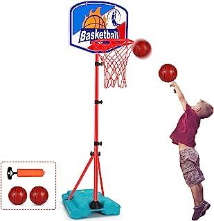 儿童玩具篮球箍便携式可调节高度 2.9 英尺 - 6.2 英尺迷你室内幼儿篮球箍目标青少年户外篮球玩具礼品 3 4 5 6 7 8 岁后院游戏