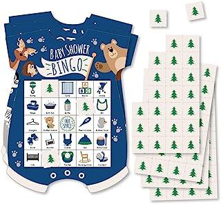 Big Dot of Happiness Stay Wild - 森林动物 - 图片宾戈卡片和马克笔 - 丛林婴儿淋浴形状的宾戈游戏 - 18 件套