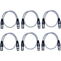Seismic Audio SAXLX-2 白色 6 件装 白色 2 英尺 XLR 到 XLR 接插线,6 件装