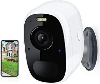*摄像机、室外摄像机无线、WiFi 家庭*摄像机彩色夜视聚光灯 1080P、可充电电池供电 IP 监控摄像头、云存储、双向音频、运动检测、室内