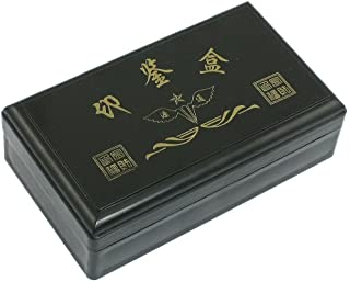 办公室矩形 4 隔层印章卡夹盒,黑色