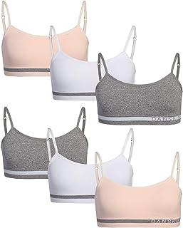 Danskin 女童训练文胸 – 6 件装无缝圆领吊带运动内衣 带可拆卸衬垫
