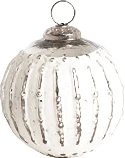 SARO LIFESTYLE XM709.S 玻璃球装饰套装,4 英寸,银色,圆形(2 件套)