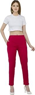 Sabhyata 女士 * 纯棉直筒修身常规裤装长裤带Kurtis