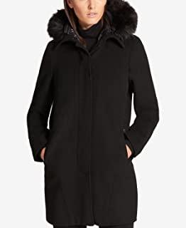 DKNY 女式仿-修身连帽羽绒服 L 码 黑色