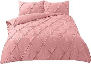 Highams 钻石细褶羽绒被套,带枕头套夹褶床上用品套装,粉色单只,涤棉: 48% 棉 52% 涤纶