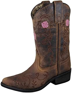 Smoky Mountain Youths' Rosette Pull On Embroidered Floral Snip Toe Brown Oil Distress Boots