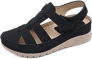 ZAPZEAL 女式夏季坡跟凉鞋镂空轻质防水台凉鞋踝带平底闭趾凉鞋休闲角斗士户外鞋尺码 6-9 美码