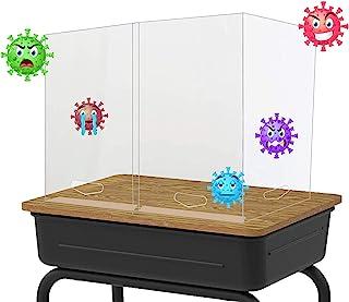 学生桌 / 桌 / 柜台塑料盾 适用于教师 / 儿童/教室的喷嚏防护罩 适用于学校 / 办公室,桌面塑料隔板 *隔板