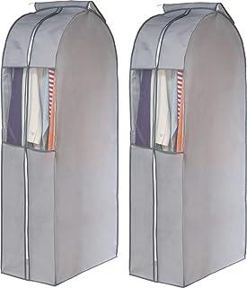 アストロ 衣物防尘罩 宽型 长款 灰色 2片装 无纺布 透明窗 带防虫剂口袋 底部收纳 167-08