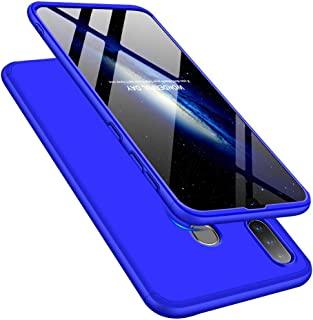 LEECOCO 三星 Galaxy A10S 手机壳纤薄 3D 豪华印花 PU 皮钱包式手机壳 3 in 1 Blue AR