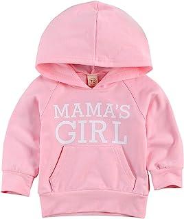 幼儿婴儿女孩男孩字母印花毛衣长袖套头运动衫秋冬户外服装(粉色妈妈连帽衫,3-4 岁)