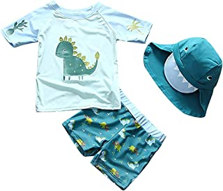 男婴两件套恐龙泳装游泳衣*服泳衣带帽子儿童女孩 FBA