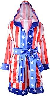 儿童拳击服连帽长袍和短裤儿童缎面美国国旗斗篷女式拳击服 3 件/包