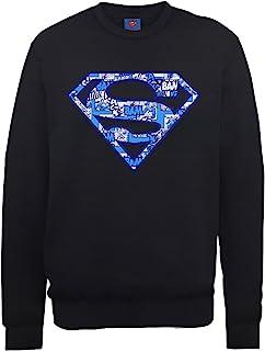 DC Comics 男式 DC0000826 官方超人漫画标志圆领长袖运动衫