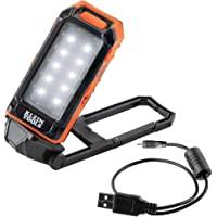 Klein Tools 56403 LED 工作灯 USB 充电带内置支架和登山扣,适用于照明和充电小型电子设备