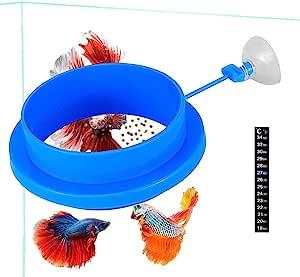 鱼饲养环 浮动食物喂食器 加厚圆形设计 用于薄片 浮动鱼类食物 减少浪费和保持水质 Guppy、贝塔、金鱼等
