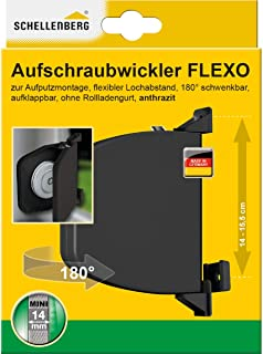 Schellenberg 50149 安装卷轴器 Flexo 可掀开 MINI 织带卷尺 表面安装 煤黑色