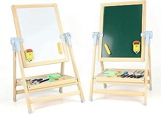 Steventoys 儿童木制艺术画架,双面磁性可调节绘图板黑板 黑色/白色板 带配件,适合儿童、幼儿、男婴女孩