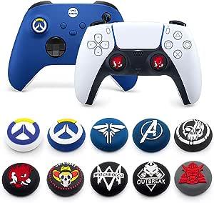2 件摇杆帽硅胶橡胶拇指棒手柄盖,适用于 PS5 PS4 PS3 Xbox 360 Xbox One X Elite 控制器(颜色 6)