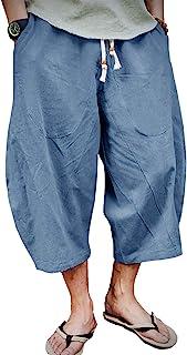 EKLENTSON 男式七分裤长短裤膝盖以下宽松合身弹性抽绳锥形休闲亚麻短裤男士
