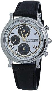 SEIKO 精工 男式必备不锈钢日本石英皮革小牛皮表带,黑色,0 休闲手表(型号:SPL055)