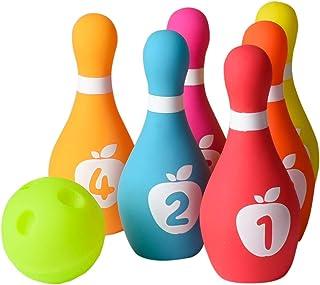 Playkidz 柔软婴儿保龄球套装 7 件套柔软保龄球游戏,适合男孩和女孩,带彩色数字别针和球类*,是室内或室外生日的理想玩具,适合18 个月以上的婴幼儿