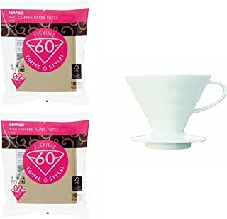 Hario V60 陶瓷滴管,测量勺子和 200 过滤器均一起销售(日本进口)