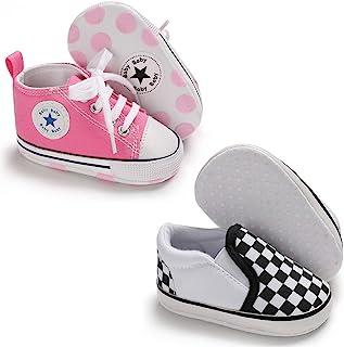 Meckior 婴幼儿女童男孩帆布鞋软底幼儿一脚蹬学步鞋软帮休闲运动鞋 Austin 男孩平底懒人乐福鞋First Walkers 滑板鞋