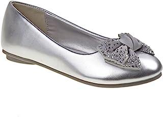 Josmo 鞋履女孩 Laura Ashley 芭蕾平底鞋金属灰色