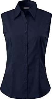 TOP LEGGING 女式商务休闲无袖弹性纽扣领衬衫