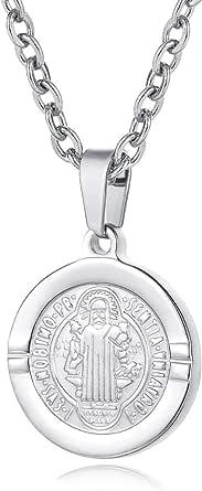 圣经经文祈祷项链自由链基督教珠宝不锈钢祈祷手硬币吊坠 银色十字架