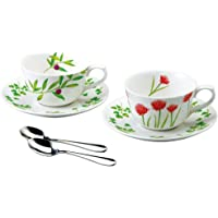 NARUMI 鸣海 自然生活 带餐勺 茶杯碟套组 对装 170cc(约170ml) 41123-33023