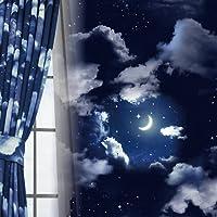 窗美人 静音器1遮光 带内衬的2层窗帘 隔热 保温 形状* 藏青色 幅100×丈90cm 2枚組 -