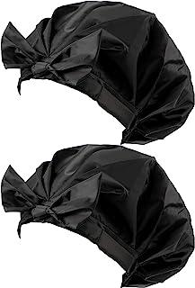 2 件女式蝴蝶结双层防水淋浴帽黑色可重复使用浴帽大号长发*发温泉家用旅行用品
