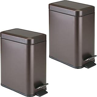 mDesign 1.3 加仑长方形细长金属阶梯垃圾桶垃圾桶,浴室,粉末室,卧室,厨房,工艺室,办公室 - 可拆卸衬垫桶,2 件装 - 青铜