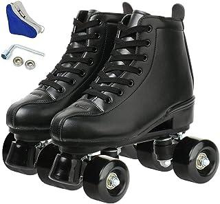 溜冰鞋女式男式初学者双排 4 轮滑鞋黑色白色高帮滚轮靴适用于室内室外
