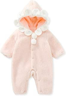 pureborn 中性婴儿圣诞鹿连帽衫连衫裤幼儿连体衣长袖保暖羊毛冬季