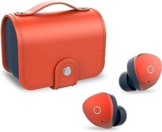 SOMIC W40 Ture 无线耳塞,蓝牙 5.0 TWS 触摸控制耳机深低音立体声高保真音频入耳式耳机,带 2 个内置麦克风和皮革充电盒,橙色